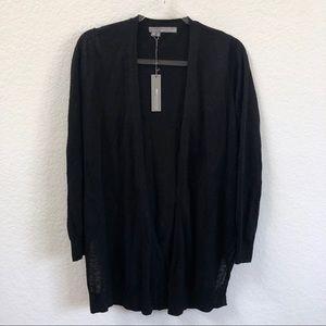 360 Sweater Black Linen Cardigan Open Sweater
